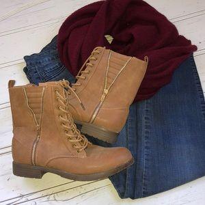 Tan & Gold Combat Boots Size 10